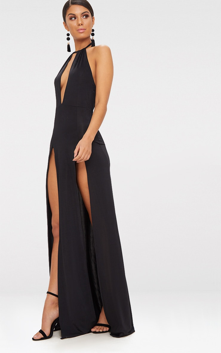 Black High Neck Cut Out Detail Extreme Split Maxi Dress 4