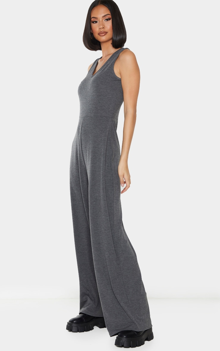 Grey Wide Leg Jersey Jumpsuit 3