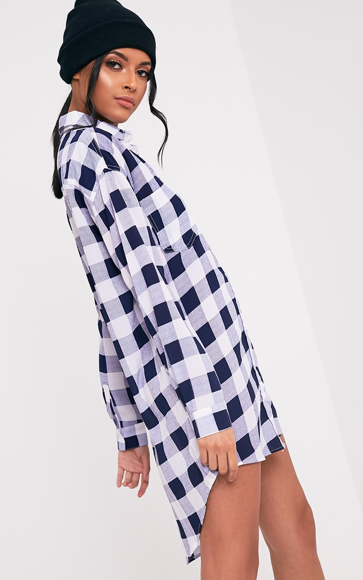 Perrie Blue Oversized Checked Shirt Dress 4
