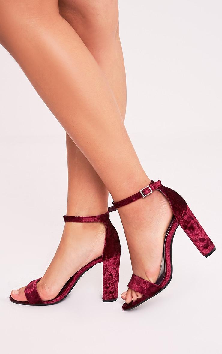May Plum Crushed Velvet Block Heeled Sandals 2