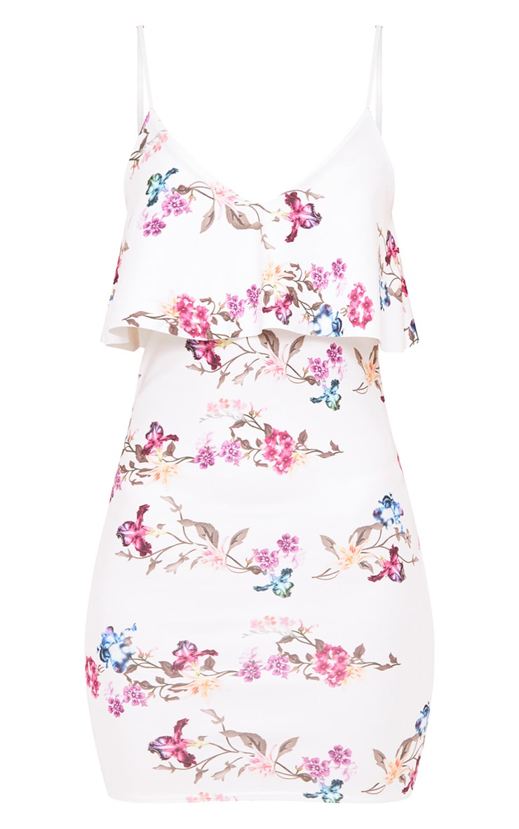 White Floral Fril Overlay Bodycon Dress 3