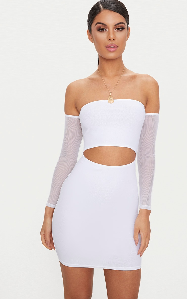 White Bardot Mesh Sleeve Bodycon Dress 1