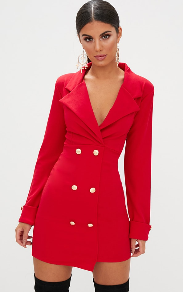 Red Gold Button Detail Blazer Dress 1