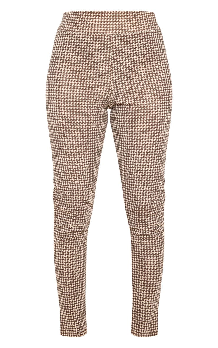 Stone Dogtooth Check Belted Skinny Pants 3