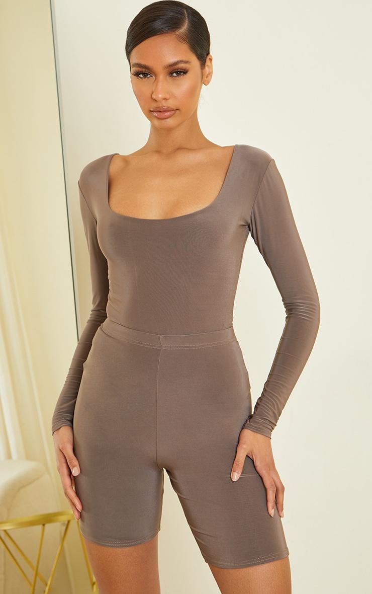 Slate Slinky Scoop Neck Long Sleeve Bodysuit 1