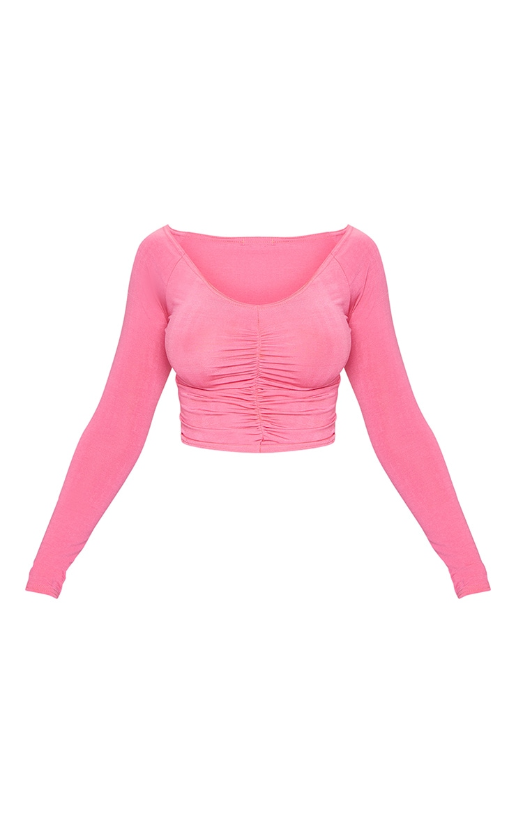 Hot Pink Slinky Ruched Front Long Sleeve Crop Top 5
