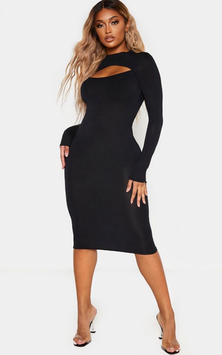 فستان أسود متوسط الطول بأكمام طويلة بقصة مفتوحة مصمم من قماش الجيرسي 1