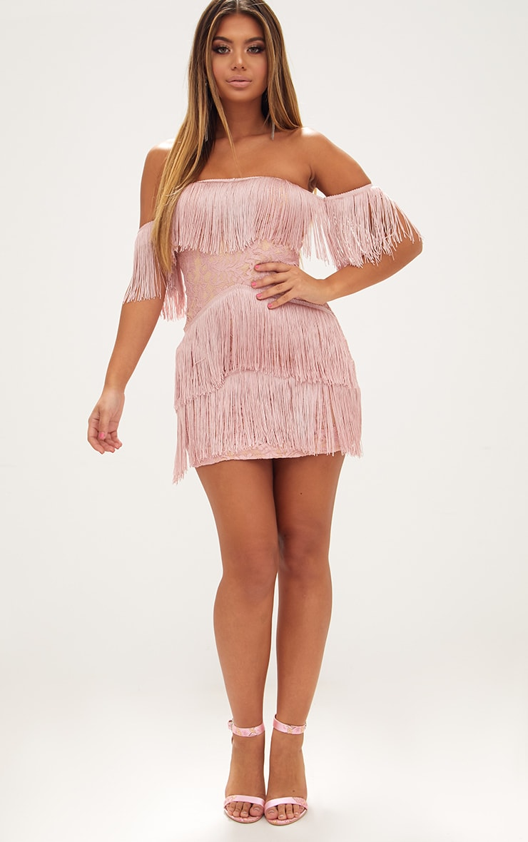 Dusty Pink Bardot Tassel Lace Bodycon Dress 4