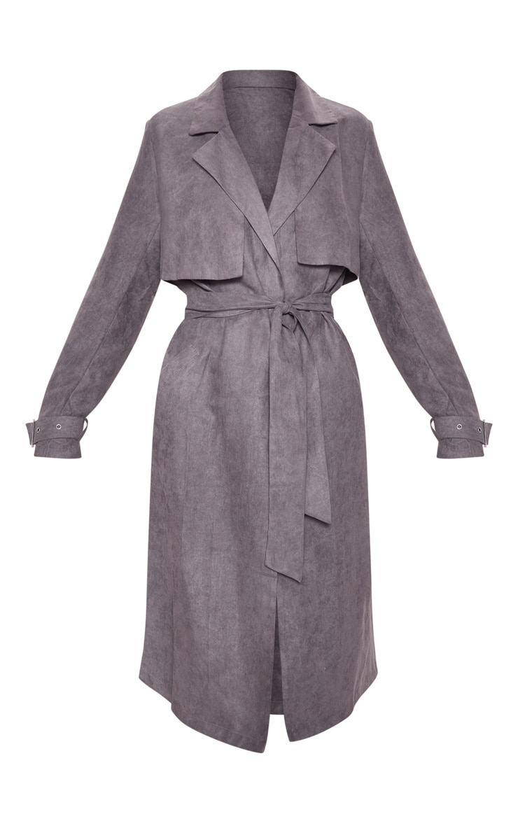 Grey Faux Suede Trench  3