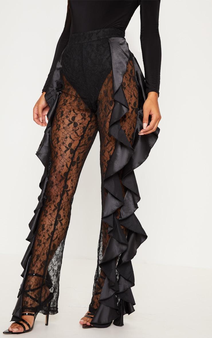 Black Lace Ruffle Detail Flare Leg Trouser 2