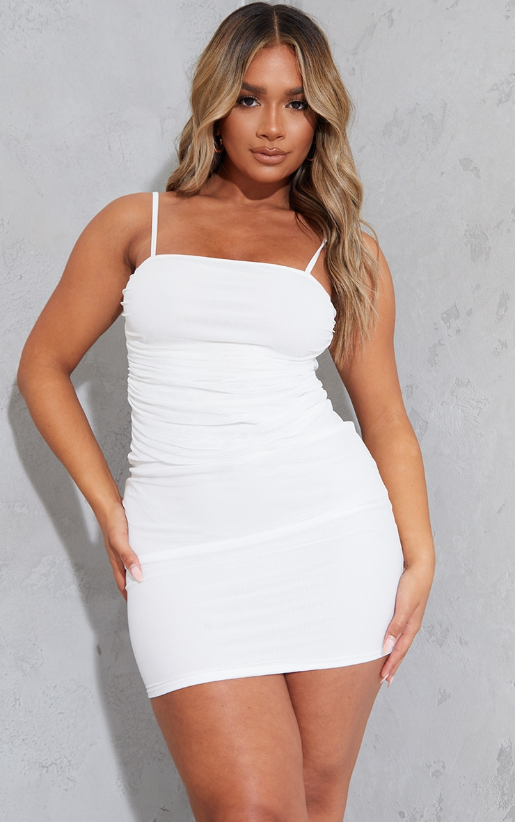 Shape Cream Strappy Ruched Mesh Bodycon Dress 1