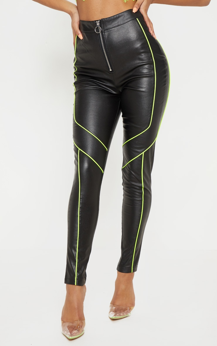 Black Faux Leather Contrast Neon Binding Skinny Trouser 2