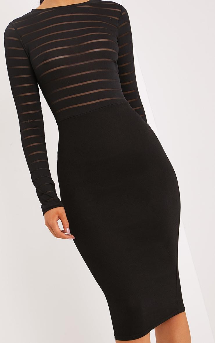 Haley Black Burn Out Mesh Midi Dress 4