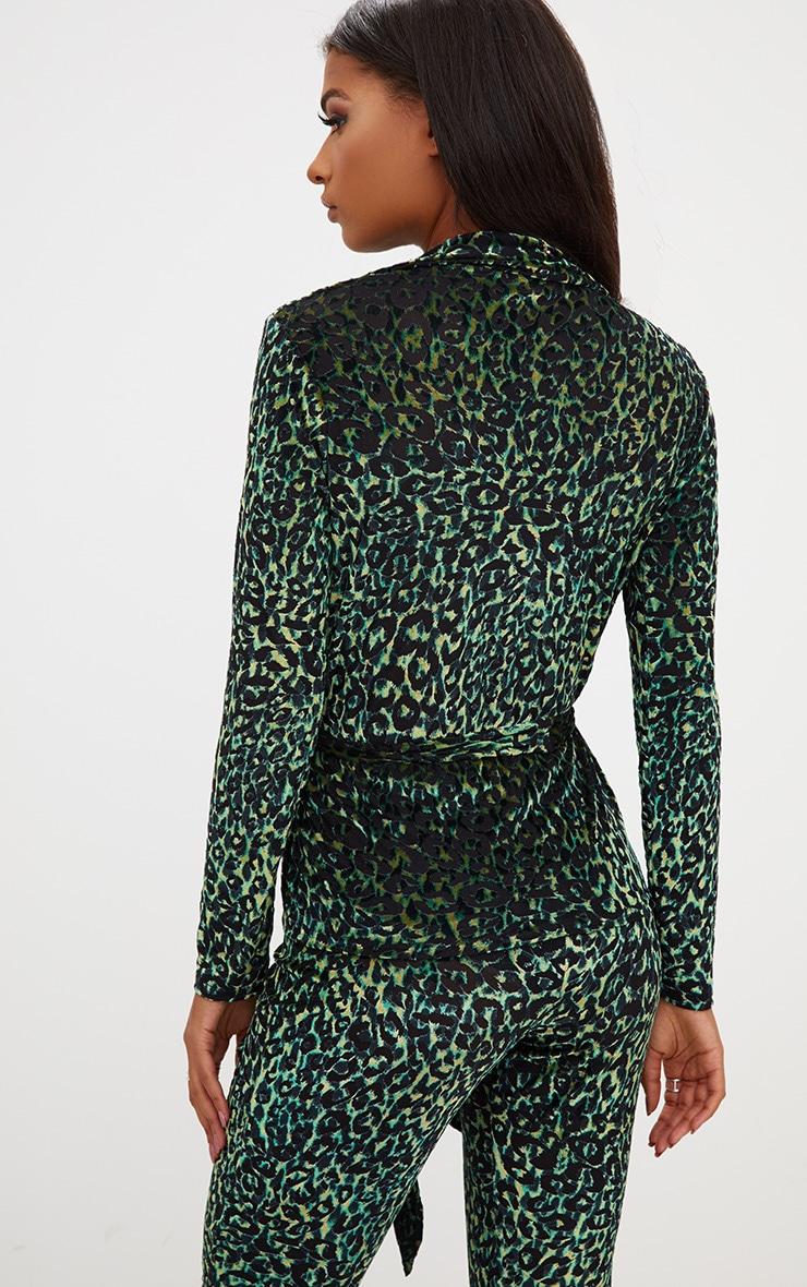 Green Velvet Leopard Belted Blazer  2