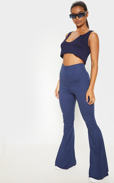 Midnight Blue Ribbed Flared Trousers