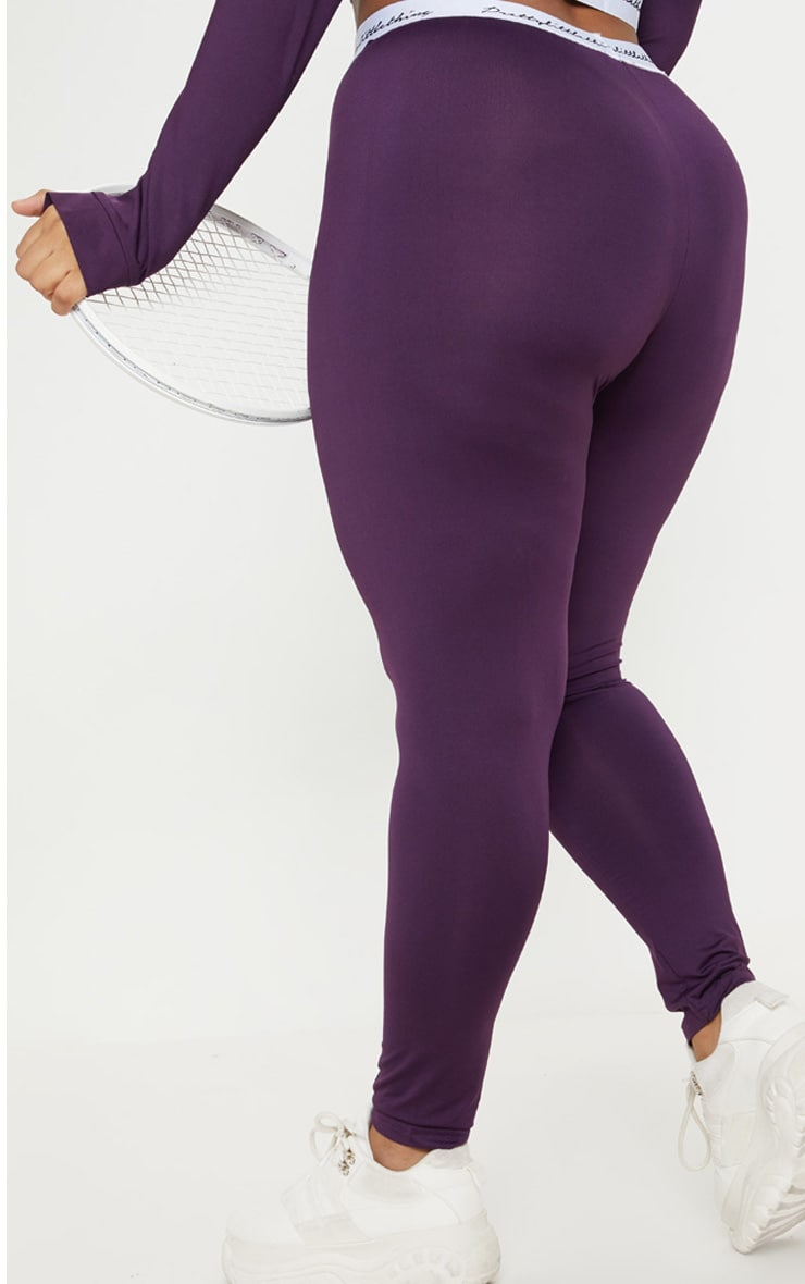 PRETTYLITTLETHING Plus Aubergine Elasticated Band Leggings 4