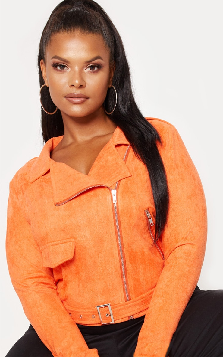 Plus Orange Faux Suede Biker Jacket 5