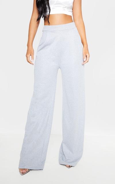 Silver Glitter High Waisted Wide Leg Trousers