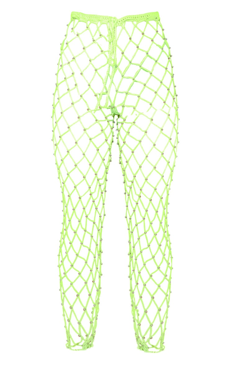 Neon Lime Crochet Beaded Knitted Trousers 4
