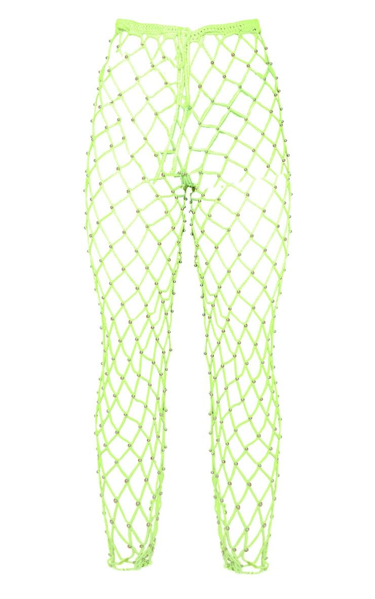 Neon Lime Crochet Beaded Knitted Pants 4