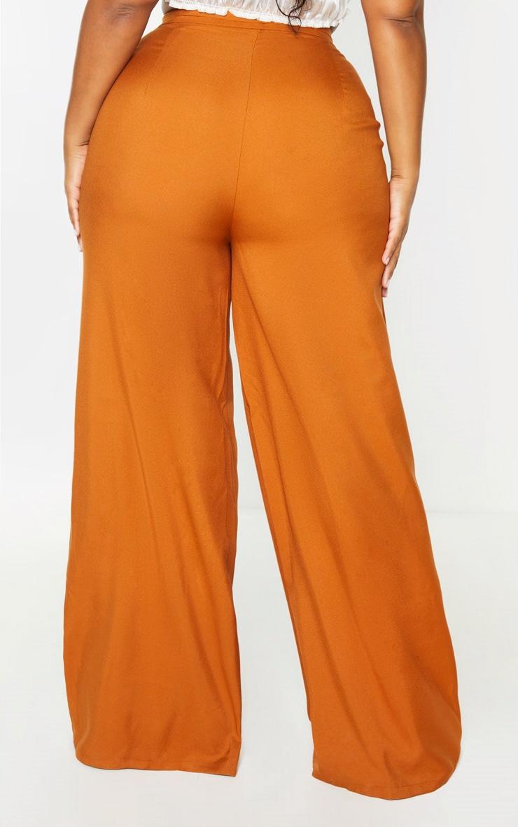 Plus Rust Woven Pleat Detail Waistband Wide Leg Trouser 4