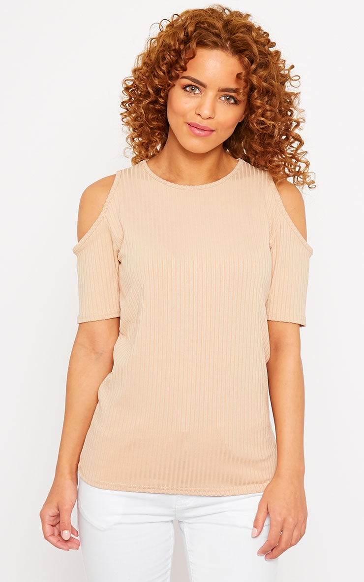 Basic Camel Cut Out Shoulder Tee 1