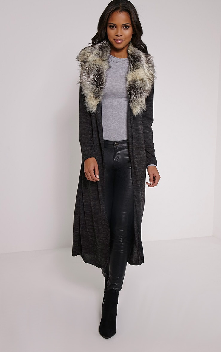 Cathie Grey Fur Collar Belted Cardigan 1