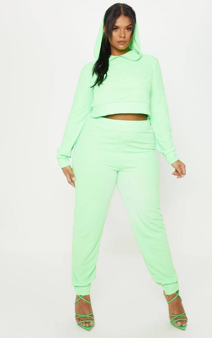 Plus Neon Green Cropped Hoodie Top 4