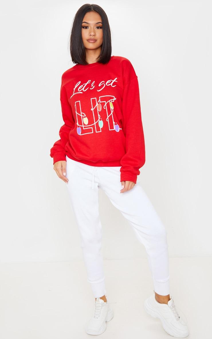 Red Lets Get Lit Sweatshirt 4