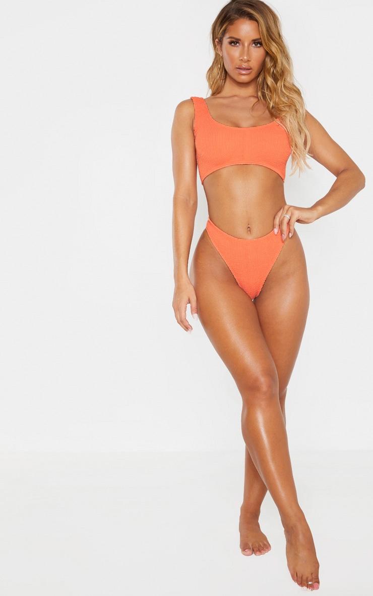 Coral Crinkle Thong Bikini Bottom 4