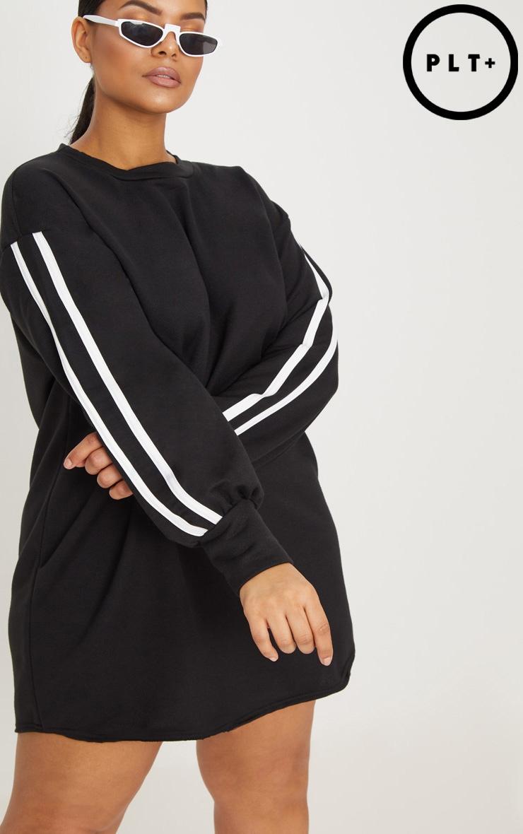 Plus Black Sports Stripe Sweater Dress 4