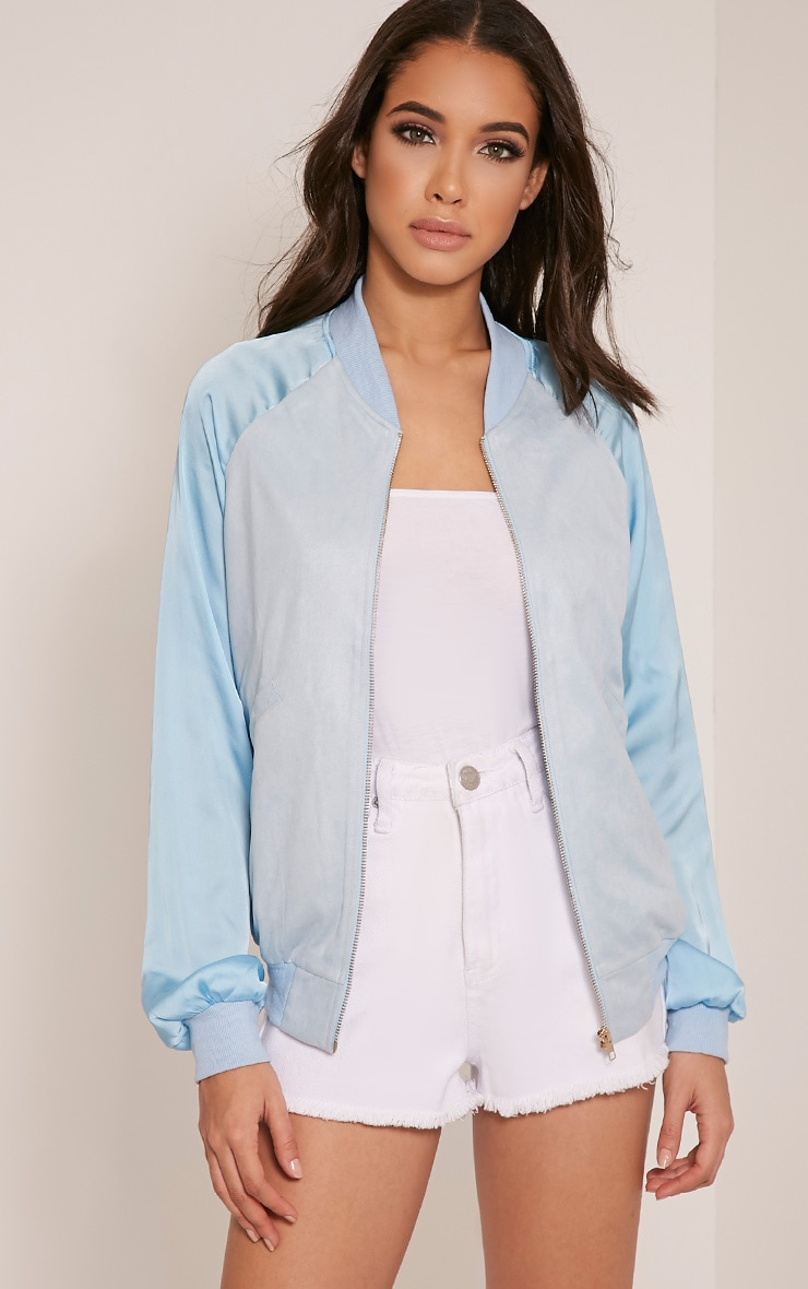 Ivy Baby Blue Faux Suede Contrast Sleeve Bomber Jacket 1