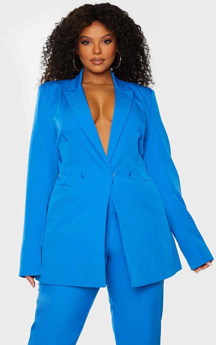 Plus Blue Double Breasted Woven Blazer