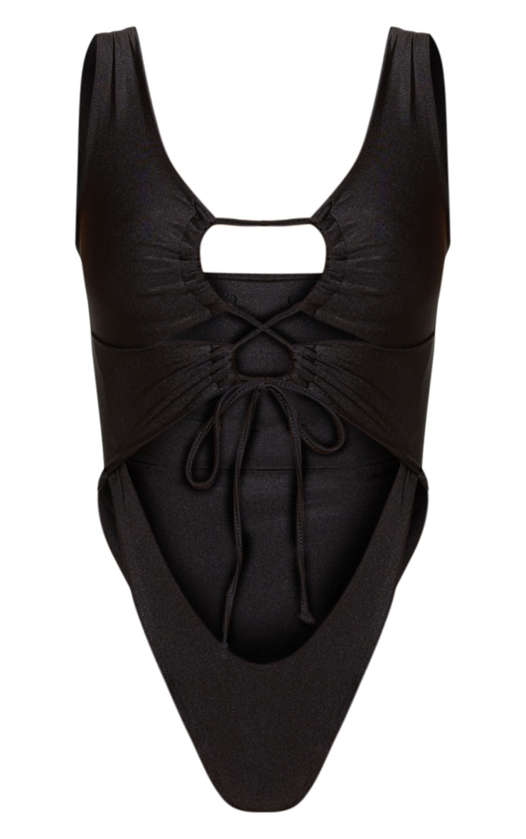 Black Cut Out Adjustable String Swimsuit 3
