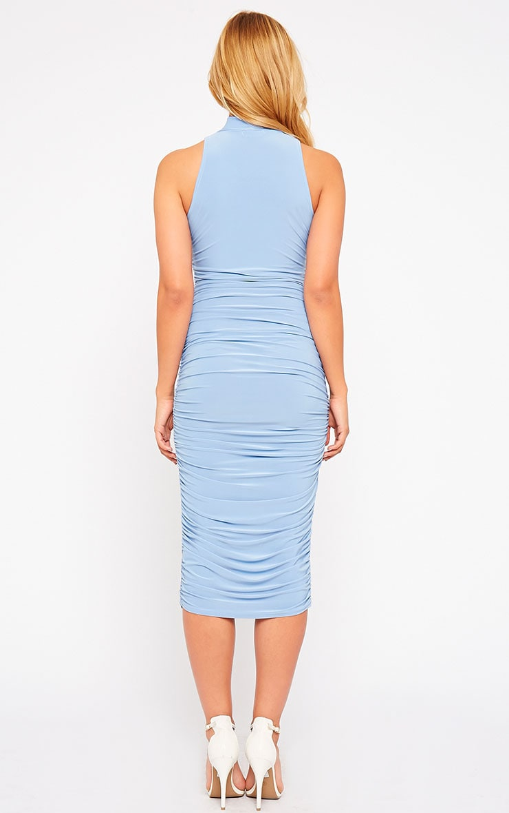 Alabama Powder Blue Slinky High Neck Ruched Sides Dress 2