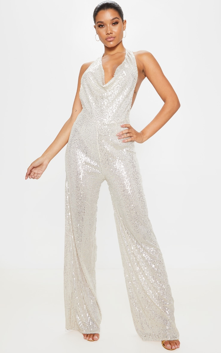Silver Sequin Cowl Neck Wide Leg Jumpsuit 2