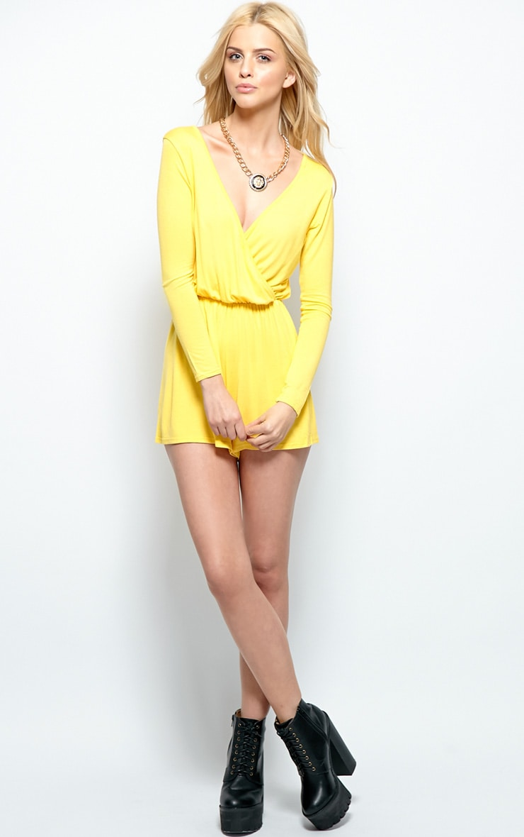 Maddison Yellow Wrap Over Playsuit  3