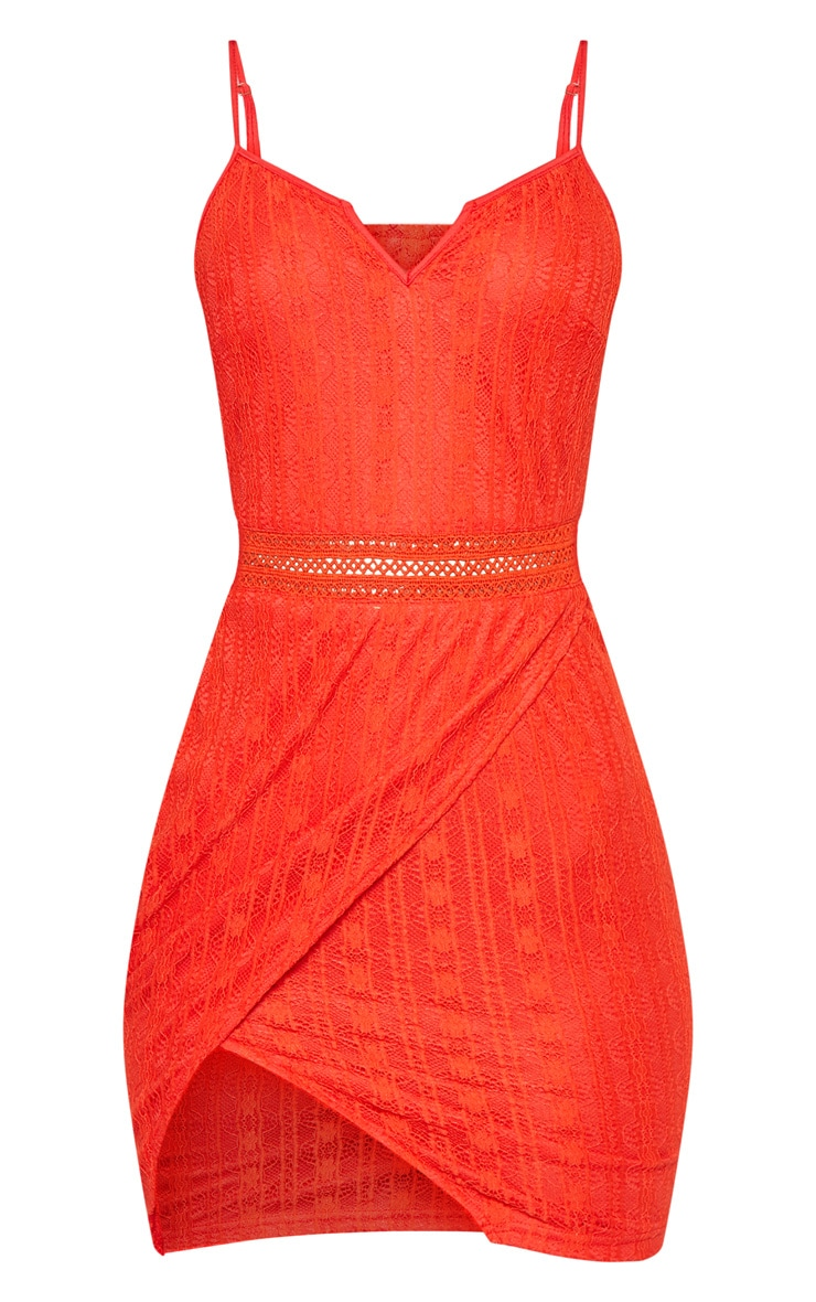 Red Lace Wrap V Cut Bodycon Dress  3