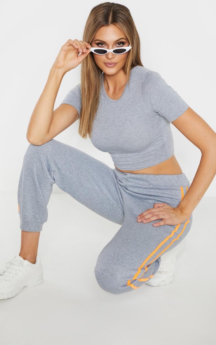 Tall Grey Short Sleeve Crop Top 4