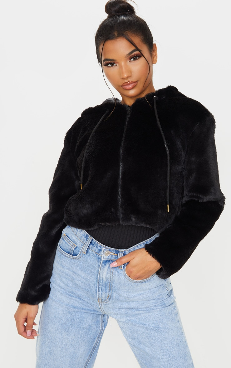 Black Faux Fur Cropped Hooded Jacket 1
