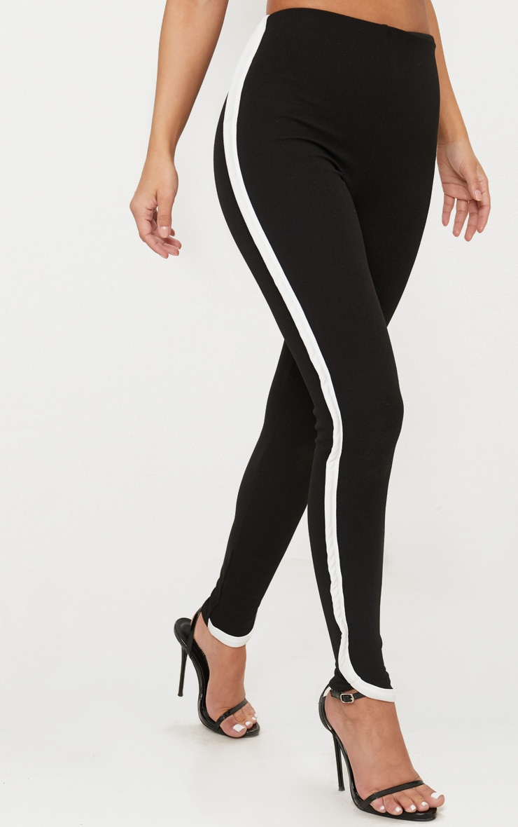 Petite Black Contrast Skinny Trousers 2