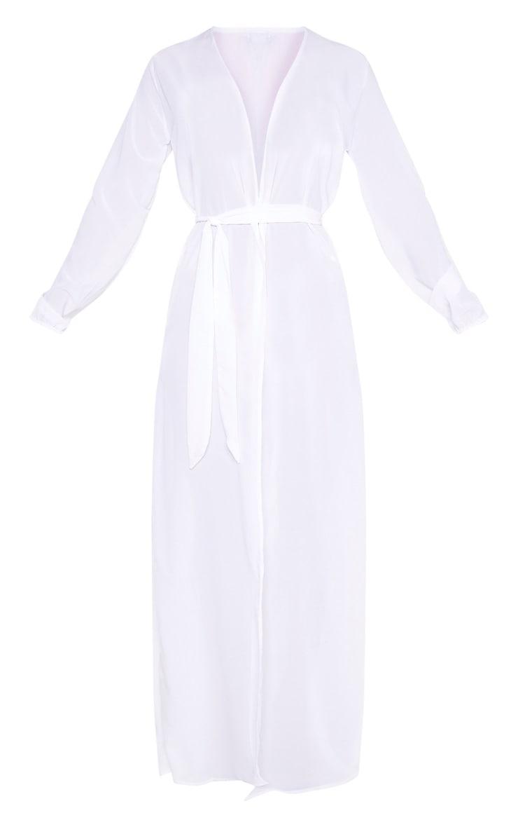 White Alice Maxi Belted Beach Kimono 3
