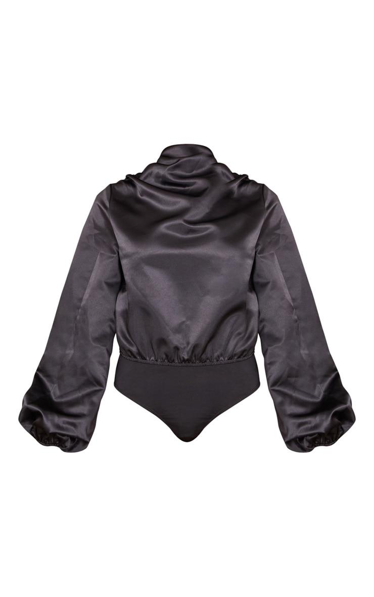 Black High Neck Woven Puff Sleeve Bodysuit 5