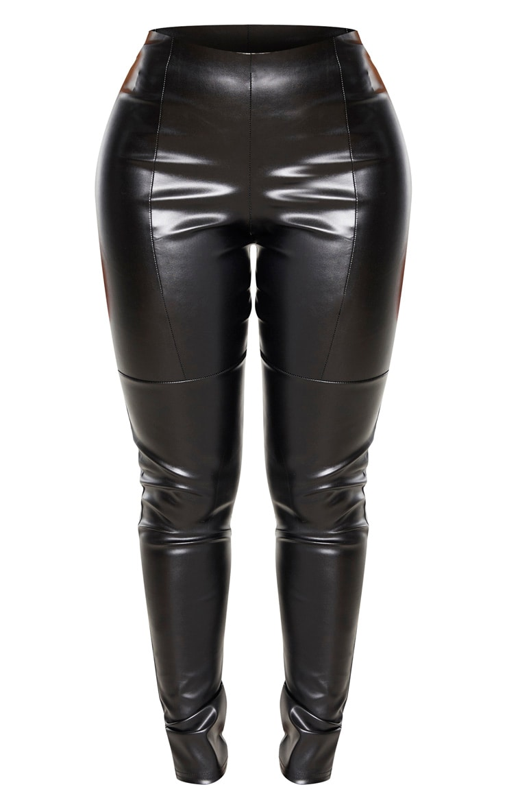 Shape Black PU Panelled Trouser 3