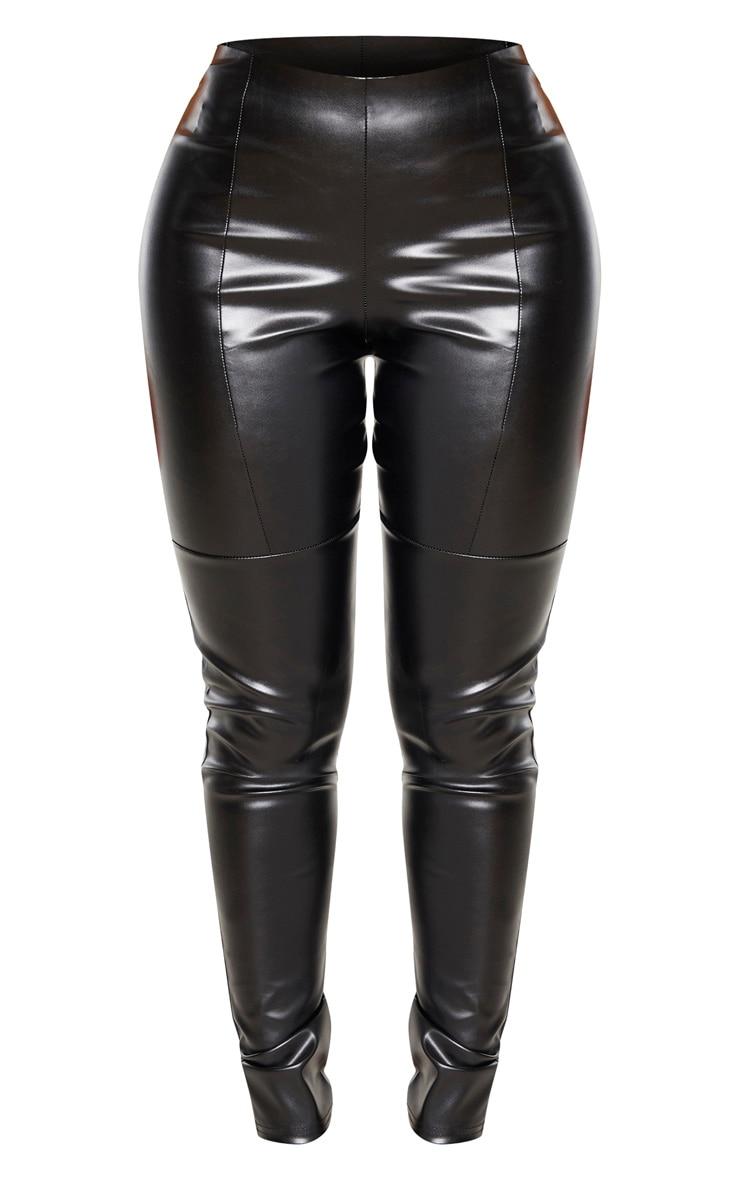 Shape - Pantalon noir en similicuir à parties empiècement  3