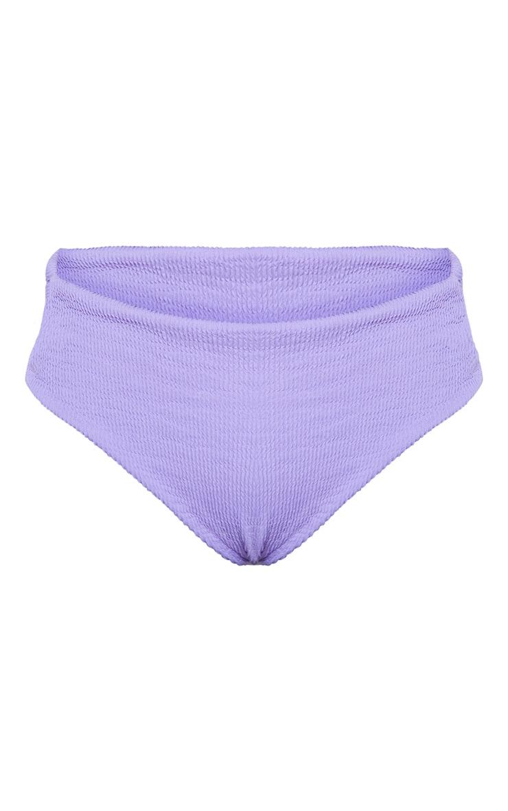Purple Crinkle High Waist High Leg Bikini Bottom 3