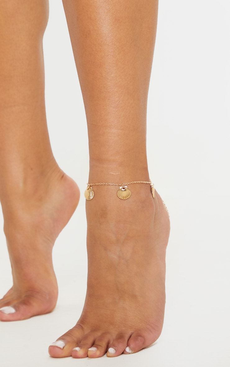 Gold Shell Charm Anklet 1