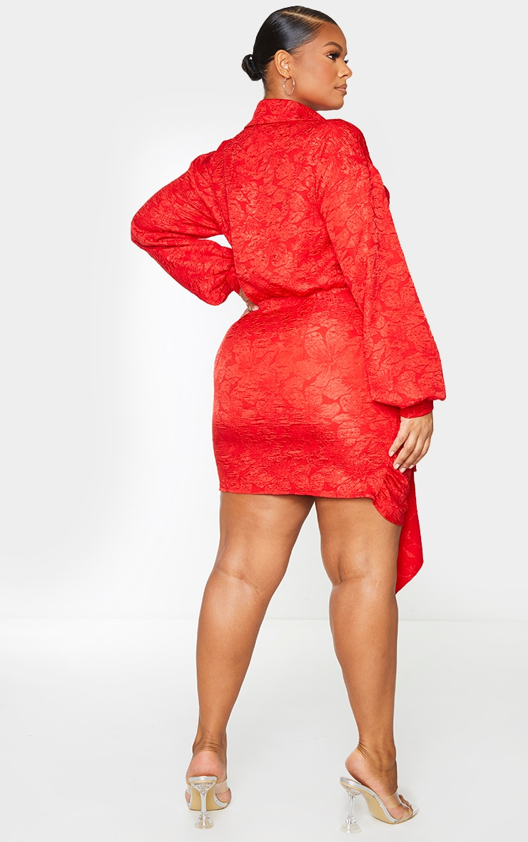 Plus Red Textured Floral Wrap Dress 2