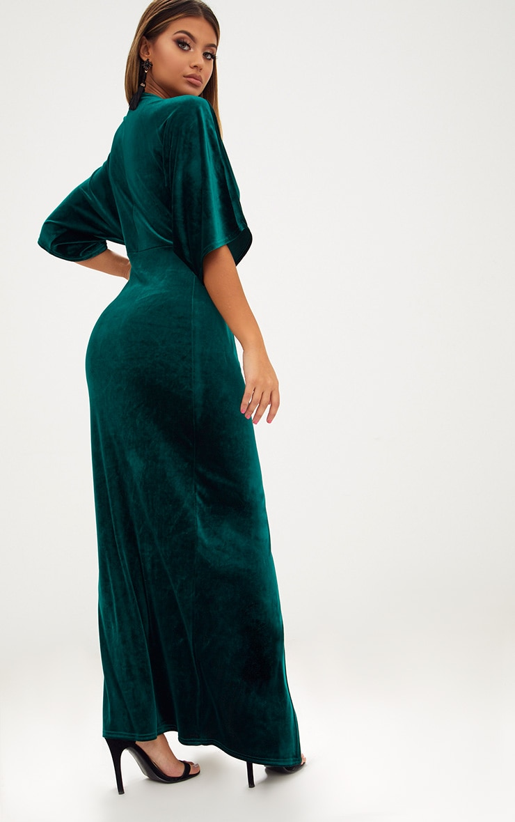 Emerald Green Velvet Kimono Sleeve Maxi Dress 2