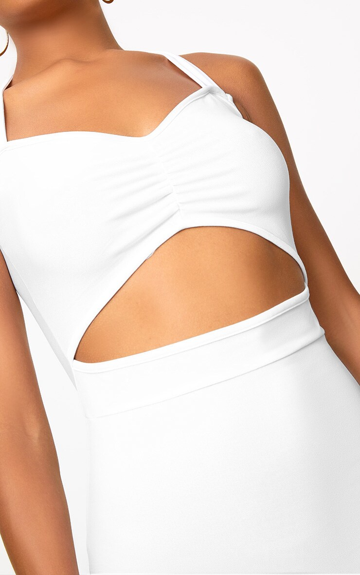 White Halterneck Midi Dress 5